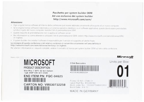 Microsoft Windows 7 Professional 32Bit SP1 OEM (IT)
