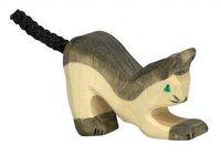 Holztiger Katze, schwarz, klein
