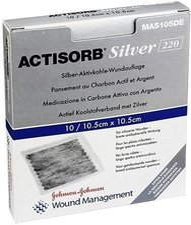 Kohlpharma Actisorb 220 Silver 10,5 x 10,5 cm Steril Kompresse (10 Stk.)