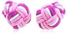 Teroon Unisex-Manschettenknopf Seidenknoten rosa pink weiß (610160)