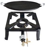 Paella World Hockerkocher-Set klein mit Light Gussgrillplatte (Ø 30 cm)