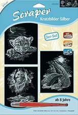 Mammut Scraper Kratzbild ohne Rahmen 3er-Set silber - Fantasie