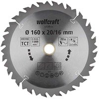 Wolfcraft HM-Kreissägeblatt 160 x 16 x 2,4 mm 20Z Serie braun (6739000)