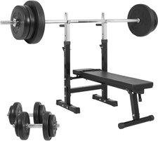 Gorilla Sports Hantelbank mit 70 kg Kunststoff Set