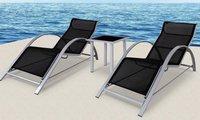 Deuba24 Alu Sun Lounge Liegenset 3-tlg. (Alu-Textil)