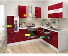 Respekta Premium L Küche weiß bordeaux (260x200 cm)