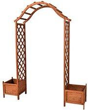 Nexos Rosenbogen aus Holz mit Topfstellplätzen
