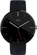 Motorola Moto 360 dunkel mit schwarzem Lederarmband