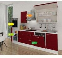 Respekta Küchenzeile Premium 280 cm Bordeaux-Weiß (RP280HWBO)