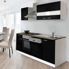 Respekta Küchenzeile 220 cm weiß schwarz (KB220WS)