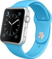 Apple Watch Sport Aluminiumgehäuse 42mm silber mit Sportarmband blue