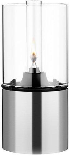 Stelton Öllampe mit Glasschirm klar - silber