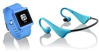 Lenco MP3Sportwatch-100 8GB blau + Kopfhörer BH-100