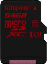 Kingston microSDXC 64GB Class 10 UHS-I U3 (SDCA3/64GBSP)