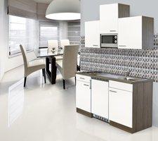 Respekta Küchenzeile 150cm weiß Eiche York (KB150EYWMIC)