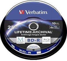 Verbatim BD-R M-Disc 25GB 4x Tintenstrahl bedruckbar 10er Cakebox