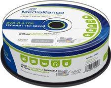 MediaRange DVD-R 4,7GB 120min 16x ganzflächig Tintenstrahl bedruckbar 25er Spindel
