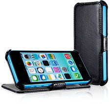 EasyAcc Protection PU Leder Flip Bumper schwarz (iPhone 5c)