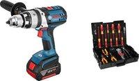 Bosch GSB 18 VE-2-LI Professional 2 x 4,0 Ah + 31-tlg. Wiha-Werkzeug-Set (0 615 990 H4Y)