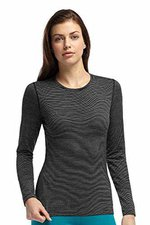 Icebreaker Oasis Long Sleeve Crewe Stripe Women black