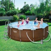 Bestway Steel Pro Frame Pool Set 366 x 100 cm Rattan mit Kartuschenfilter