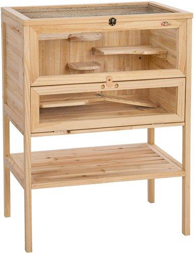 TecTake Hamsterkäfig aus Holz 60x40x81cm