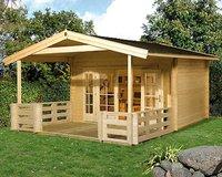 weka Holzbau Gartenhaus 137 B Gr. 1 mit Terrasse (380 x 300 + VD 200 cm)
