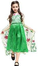 Katara Eiskönigin Elsa Kostüm-Kleid Grün mit Blumen