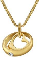 Trendor Gold-Taufring mit Herz-Einhänger (78285)