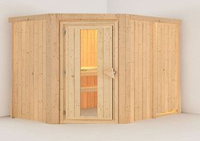 Karibu Carin Standard Sauna mit Eckeinstieg