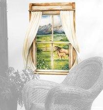 Wallies Fenster mit Aussicht auf eine Pferdeweide