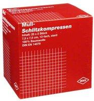 Draco Schlitzkompressen Mull 7,5 x 7,5 cm 12-fach Steril (25 x 2 Stk.)
