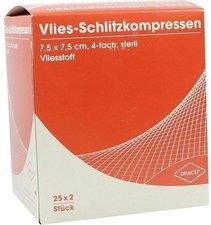 Draco Schlitzkompressen Vlies 7,5 x 7,5 cm 4-fach Steril (25 x 2 Stk.)