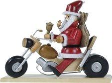Dregeno Seiffen Räuchermännchen Weihnachtsmann auf Motorrad (21 cm)