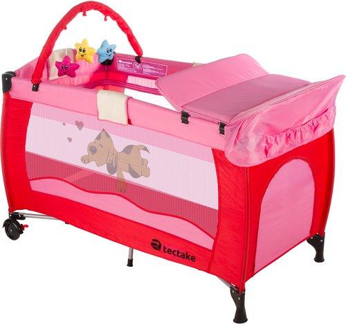 TecTake Reisebett höhenverstellbar mit Babyeinlage Pink