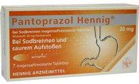 Hennig Arzneimittel Pantoprazol b. Sodbrennen 20 mg magensaftr. Tabletten (7 Stk.)