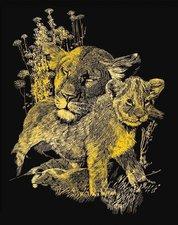 Mammut Scraper Kratzbild klein mit Rahmen Gold - Löwenfamilie