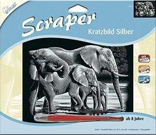 Mammut Scraper Kratzbild ohne Rahmen silber quer - Elefanten