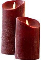 Sompex LED-Echtwachskerze Flame bordeaux (8 x 23 cm)