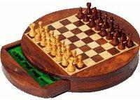 Weible Spiele Rundes Magnetschachspiel mit Schubfach