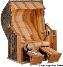 SONNENPARTNER Classic Strandkorb Halbliegemodell (Dessin 67, Geflecht: cappucino))