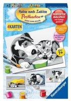 Ravensburger Malen nach Zahlen Postkarten: Tiere schwarz-weiß
