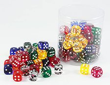 Weible Spiele Acryl-Würfel transparent 100 Stück 05186-1