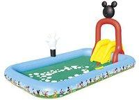 Bestway Planschbecken Mickey Mouse Clubhouse mit Sprinklern, Rutsche und Ringwurfspiel (320 x 175 x 157 cm)