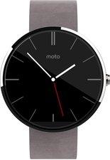 Motorola Moto 360 hell mit grauem Lederarmband