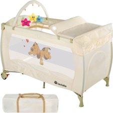 TecTake Reisebett höhenverstellbar mit Babyeinlage Beige