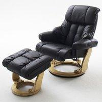 M-Future Relaxsessel Calgary inkl. Hocker schwarz Gestell natur