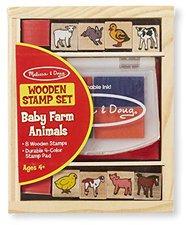 Melissa & Doug Wooden Stamp Set: Baby Farm Animals