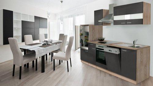 Respekta Küchenzeile 280cm grau Leerzeile