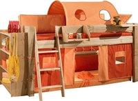Dolphin Furniture Halbhohes Bett Moby mit schräger Leiter - natur lackiert